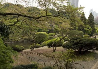 A proximité de la maison de thé dans le jardin de Shinagawa