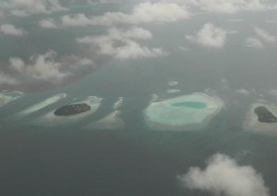 Les Maldives vus depuis un avion