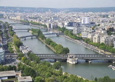 L ile aux cygnes depuis la tour Eiffel