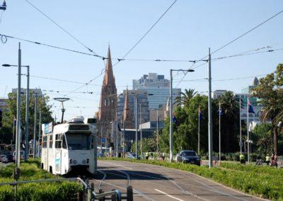 Le tram dans les rues de Melbourne