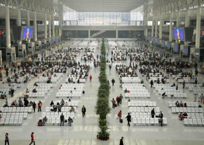 Attente en gare de Shanghai Hongqiao