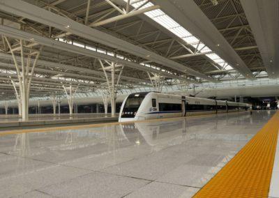 Train à quai à Shanghai Hongqiao
