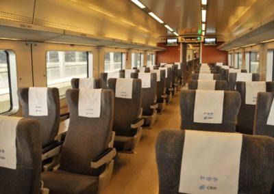 Intérieur d'un train CRH à Shanghai Hongqiao