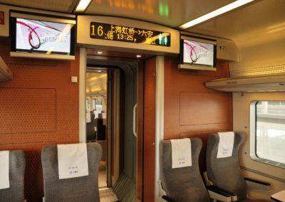 Affichage dans un train CRH à Shanghai Hongqiao