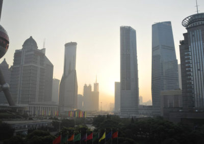 Lever de soleil sur Pudong, à Shanghai