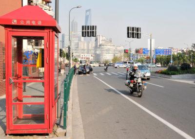 Cabine téléphonique rouge à Shanghai