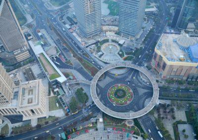 Perle de l'Orient Tour TV Shanghai, vue en bas