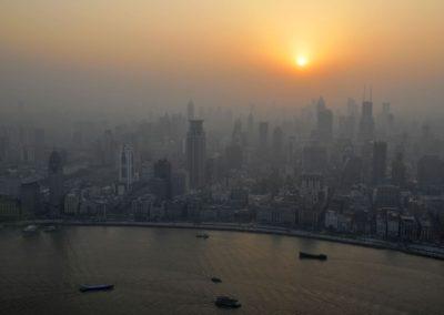 Coucher de soleil sur Puxi à Shanghai